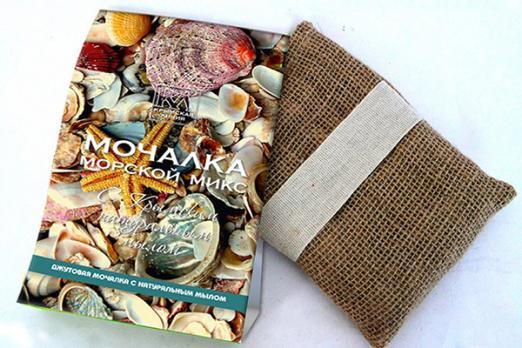 Мочалка с натуральным мылом Морской Микс 120г. Крымская линия купить