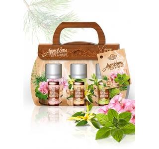 Сувенирный набор композиций эфирных масел в картонной упаковке Аромахиты Для Сауны Царство ароматов купить