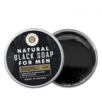 Натуральное черное мыло для мужчин с измельченными водорослями Дом природы купить косметику