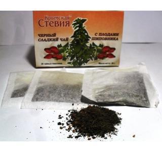 Черный чай со стевией и шиповником 30 грамм 20 ф Крымская стевия купить