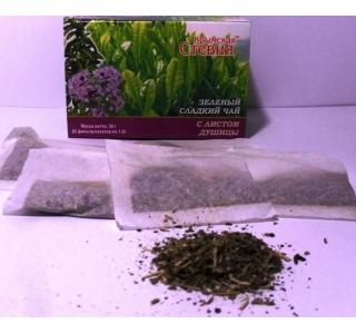 Зеленый чай со стевией и душицей 30 грамм 20 ф Крымская стевия купить